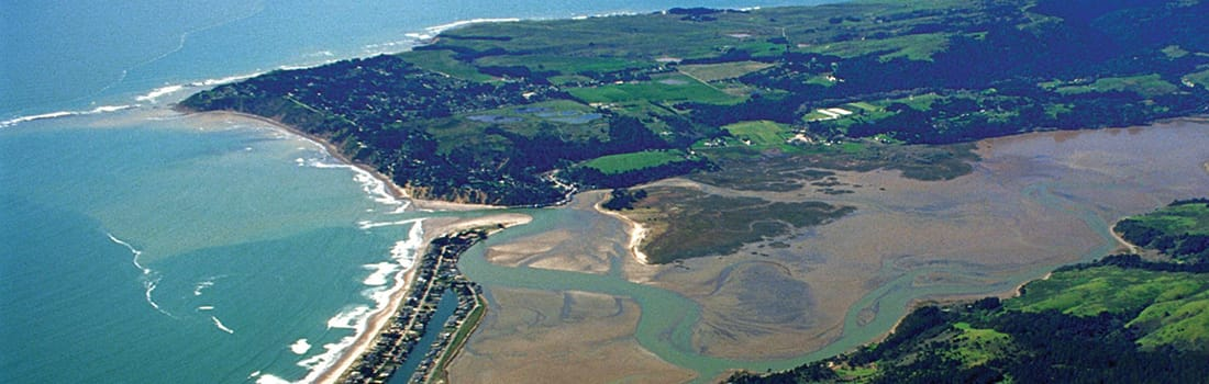 Aerial view of Bolinas Lagoon