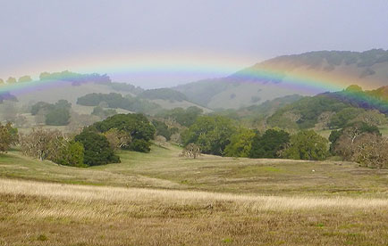 Rainbow over the hills of Mount Burdell