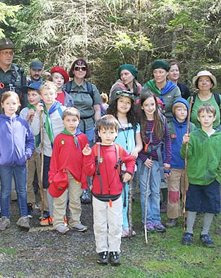 Scout troop hiking in open space preserve