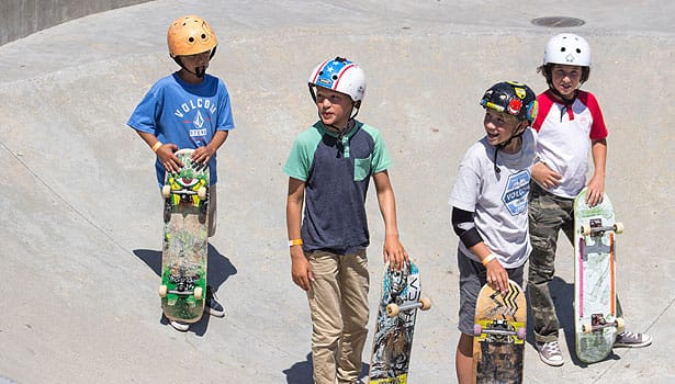 Group of young friends at the skatepark