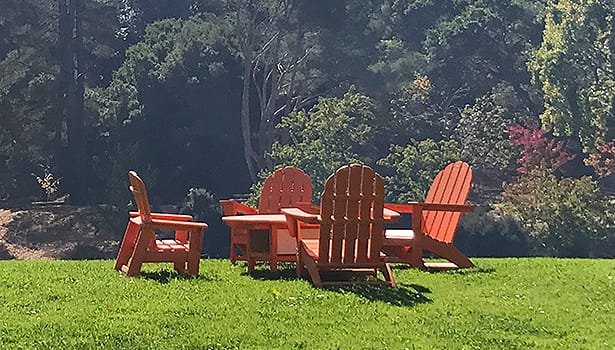 Adirondack chairs on the Paradise lawn