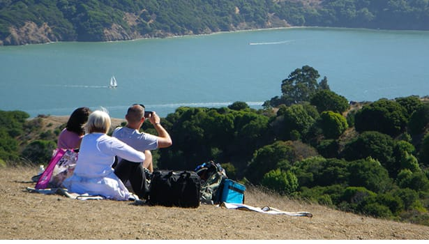 Group having a picnic, looking out at the Bay