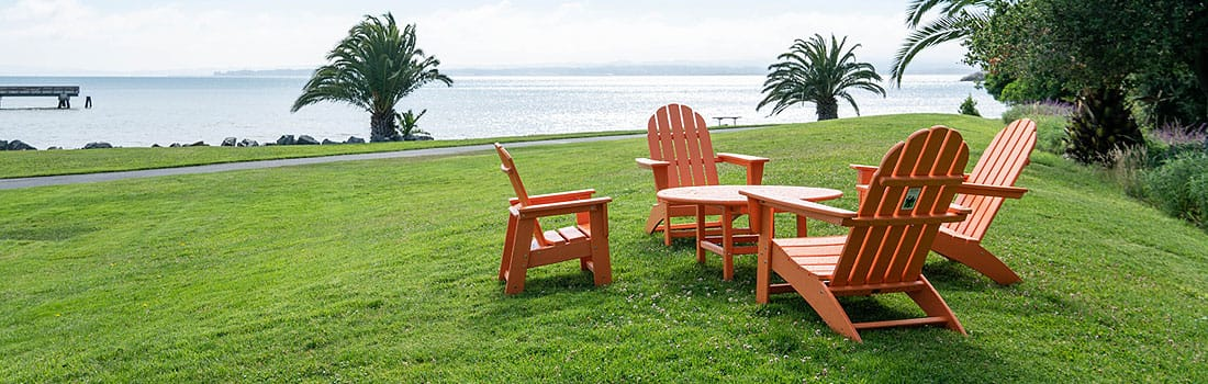 Orange Adirondack chairs at McNears Beach Park