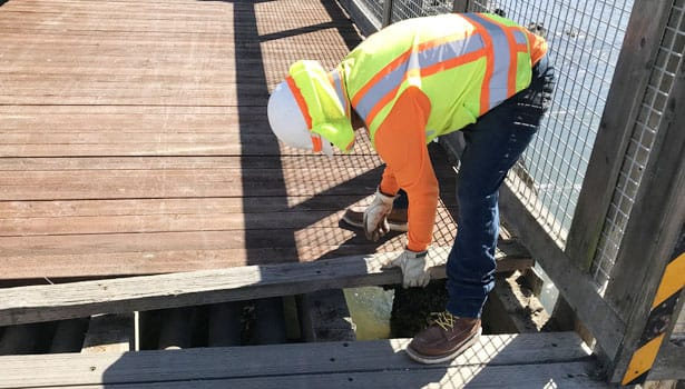 Construction worker replacing pathway deck board