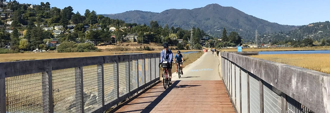 Cyclist riding over repaired pathway bridge deck