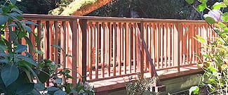 Completed new wooden footbridge
