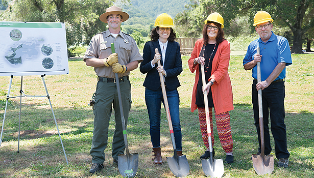 County supervisor and parks staff with shovels, groundbreaking for the hammock village