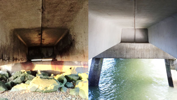 Before and after photos showing repair of the concrete footing