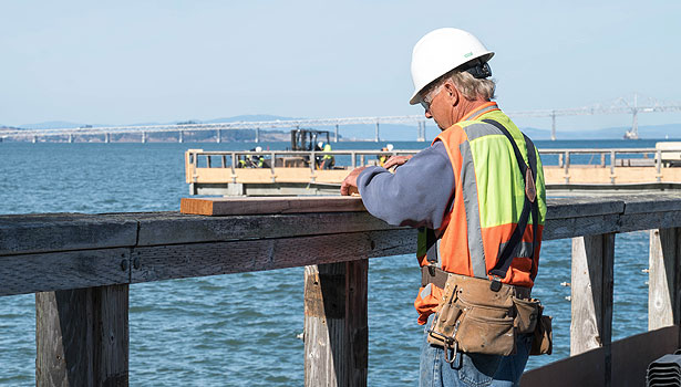 Construction worker on the pier