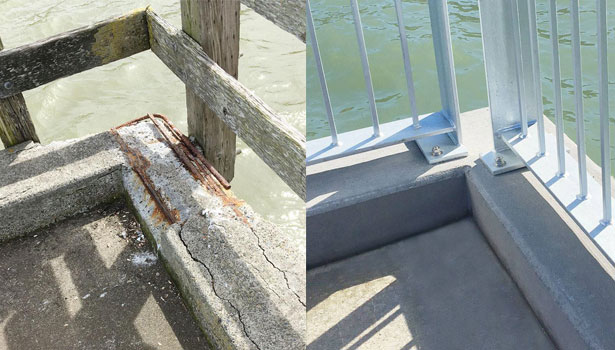 Before and after showing repair of the concrete curb