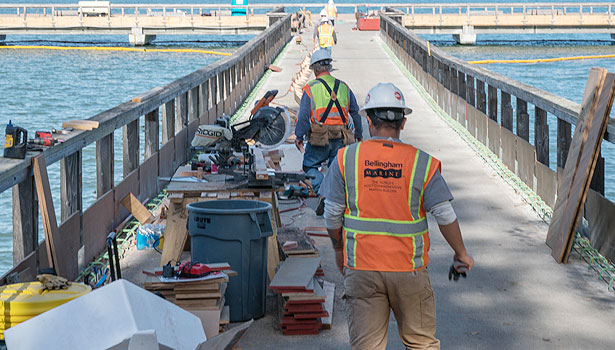 Construction crew on the pier