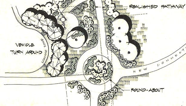 Landscape architecture drawing of the roundabout