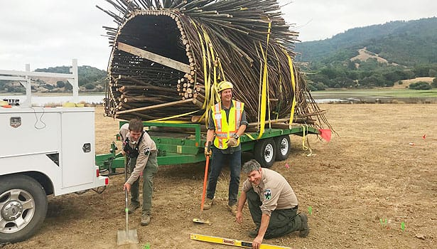 Parks crew moving the Spirit Nest on a truck to Stafford Lake Park